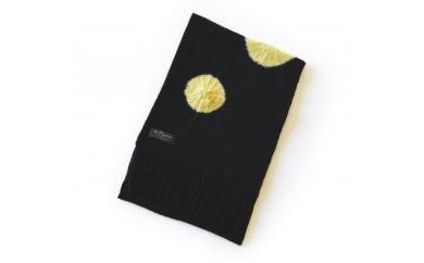 帽子絞り染めPureカシミヤマフラー(ブラック×イエロー)カシミヤ100%