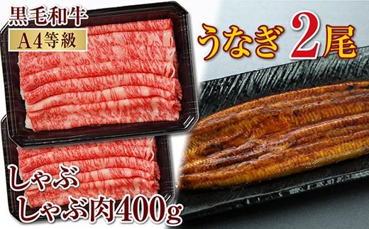 【C-398】鹿児島産黒毛和牛(A4)しゃぶしゃぶ肉400g&うなぎ2尾