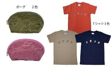 「ちゃまりゅう」子供用オリジナルTシャツと恐竜ポーチのセット