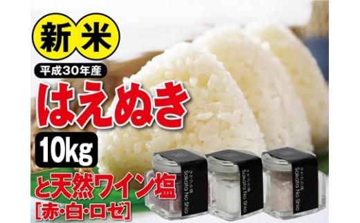 NB431 平成30年産米 庄内産はえぬき 10kgと天然塩「ワイン塩(赤・白・ロゼ)」3本 SI