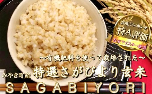 D2-O【新米予約】《H30年産米》有機肥料を使って栽培した『特選さがびより』玄米30kg(10㎏×3袋)(みやき町産)