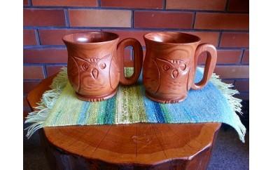 旭川産の木の食器 ふくろうが彫られた ペアミルクカップ