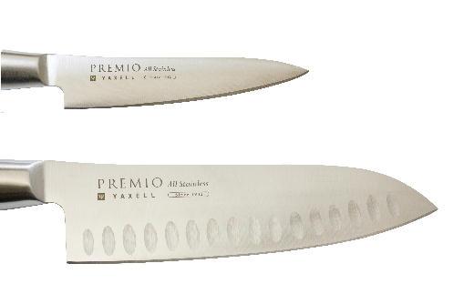 H10-39 プレミオオールステンレス包丁3点セット(三徳、ペティ、研ぎ器)