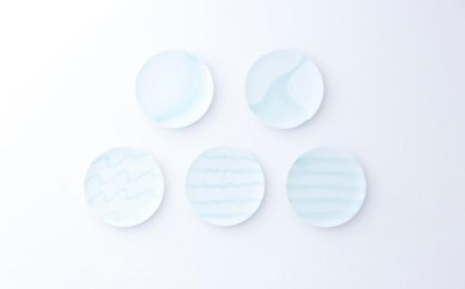 有田焼/照井一玄/青白磁5寸皿水もよう5枚
