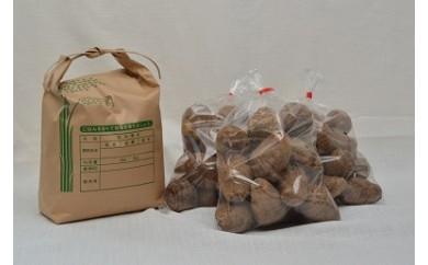 減農薬無化学肥料栽培 コシヒカリ4㎏・里芋4㎏