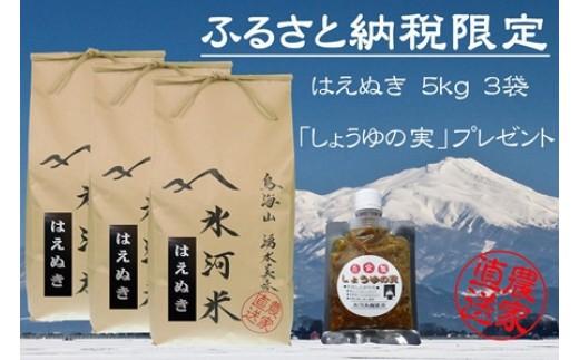 NB443 平成30年産 「氷河米」はえぬき 15kg おまけ 自家製「しょうゆの実」100gプレゼント!  AG