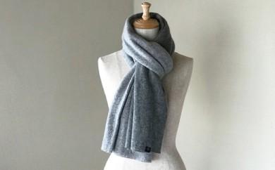 Pureカシミヤ筒編みのバイカラーマフラー(ライトグレー×グレー)カシミヤ100%