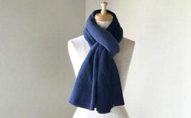 Pureカシミヤ筒編みのバイカラーマフラー(ブルー×ネイビー)カシミヤ100%