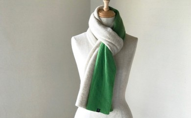 Pureカシミヤ筒編みのバイカラーマフラー(ベージュ×グリーン)カシミヤ100%