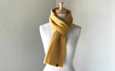 縮絨ウールの筒編みマフラー(マスタード)
