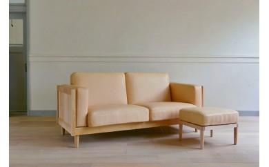 Wood Frame Sofa Classic M(ナチュラル革)+Ottoman Classic
