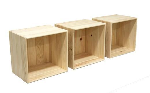 252.国産 四万十ひのき使用『シンプルなヒノキのフリーボックス(3個セット)』