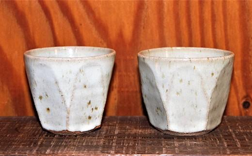 C0-67 【東馬窯】レモングラス釉面取りカップ(2個)