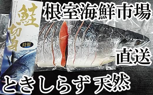 CA-60017 根室海鮮市場<直送>北海道産天然ときしらず甘塩姿半身2分割真空パック