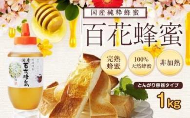 DJ26 国産百花蜂蜜【1kg】(とんがり容器)