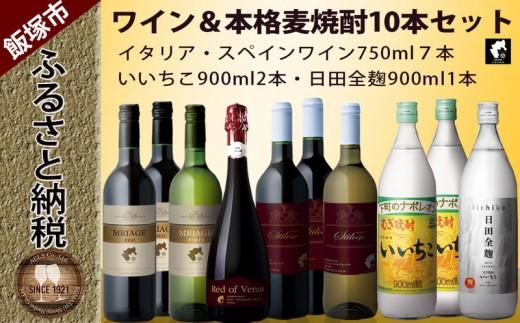 【B-077】いいちこ・いいちこ日田全麹&イタリア・スペインワイン10本