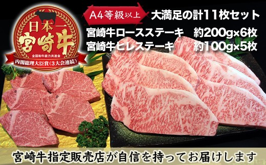 Y☆11 とろける旨味!【宮崎牛ヒレステーキ&ロースステーキセット】