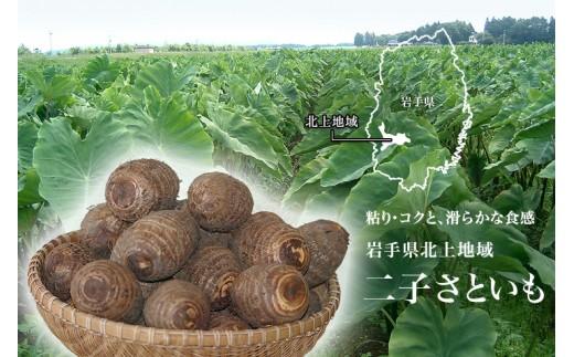 北上市二子地区で栽培されている里芋は独特の粘り、コクがあり秋の特産品として親しまれています