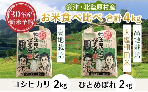 R11【食べ比べ】会津・北塩原村産コシヒカリ2kg+ひとめぼれ2kg(合計4kg)