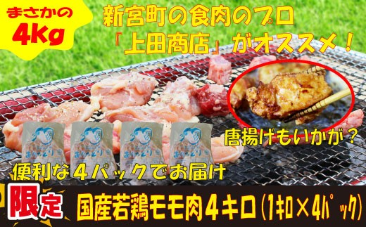 A293.国産若鶏「モモ」 メガ盛4キロ(便利な1キロ×4パック)
