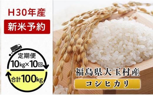K09【10カ月定期】福島県大玉村産コシヒカリ100kg(毎月10kg×10回お届け)