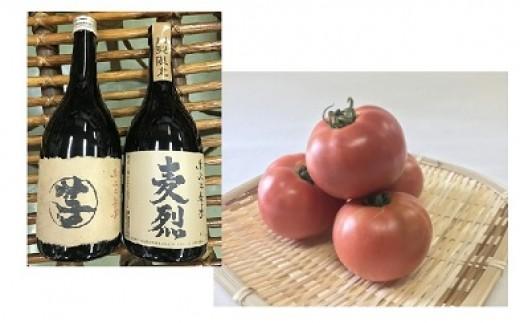 B907山梨県産焼酎2本+平林トマト約4㎏セット
