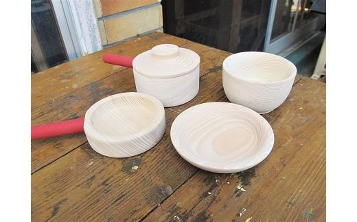 D-094 ままごと用 吉野桧製お鍋・フライパン・おちゃわん・お皿セット