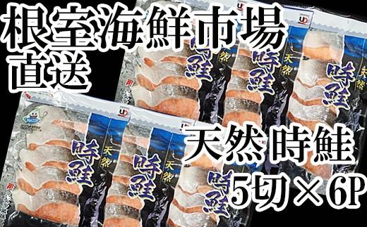CA-60004 根室海鮮市場<直送>北海道産天然時鮭5切×6P(計30切)