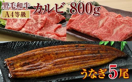 898 うなぎ5尾&黒毛和牛カルビ800g