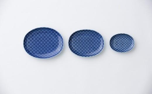 有田焼/坂本達也/瑠璃釉市松楕円皿3枚