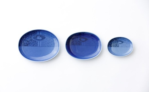 有田焼/坂本達也/瑠璃釉ウサギ画楕円皿3枚