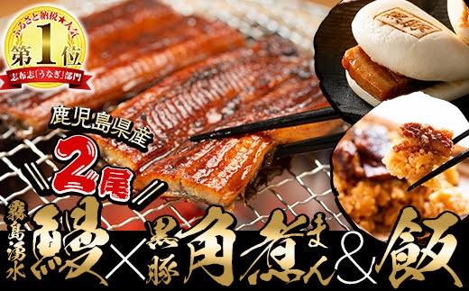 B-216 霧島湧水鰻・黒豚角煮まん・黒豚角煮飯・焼芋どん