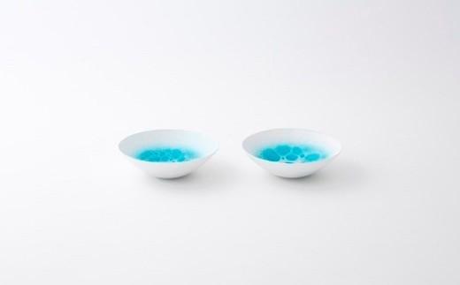 有田焼/やま平窯/エッグシェル浅小鉢13.8cmブルー吹き白泡2客