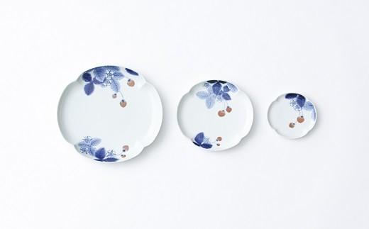 有田焼/李荘窯/染錦イチゴ木甲型皿3枚