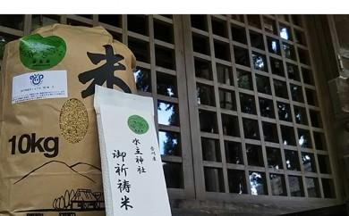 [№4631-1487]新米!水主米10kg精米【水主神社のご祈祷米(2合)1袋付き】