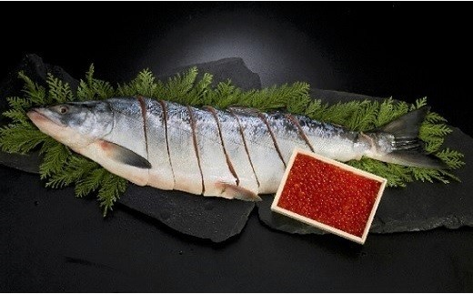 秋鮭の卵を塩のみで味付けした「網元の塩いくら」と甘塩に仕立て食べやすいよう切身にしてから姿に戻した「新巻鮭姿切身」のセットです。