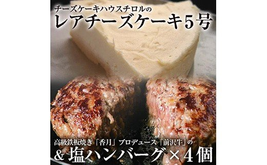 レアチーズケーキ5号&塩ハンバーグ4個