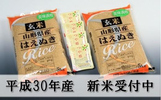 004 玄米はえぬき10kg+つや姫パックライス4