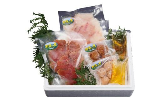 佐世保魚市に水揚の魚介類を贅沢に、うちわえびの旨みたっぷり海鮮鍋
