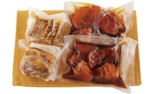 脂身の甘味と肉の旨みが詰まった放牧豚を角煮とローストポークに仕上げました