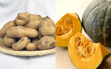 [№5539-0097]あっさぶメークイン(わけあり)とかぼちゃ2玉 合計約10kg