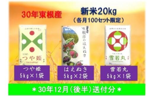 A-436 30年産[精米]はえぬき10kg+つや姫5kg+雪若丸5kg(30年12月後半送付分)植松商店提供