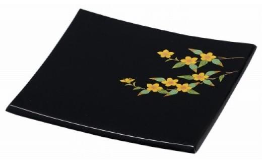 輪島塗 角皿(小、山吹蒔絵)