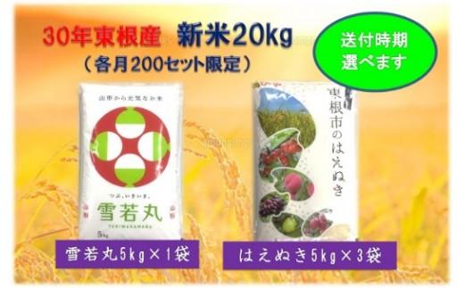 30年産[精米]はえぬき15kg+雪若丸5kg(送付時期が選べます)植松商店提供