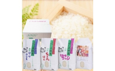 宮城県北特A地域のお米詰合せ【くりはら四姉米B】5㎏×各4品種