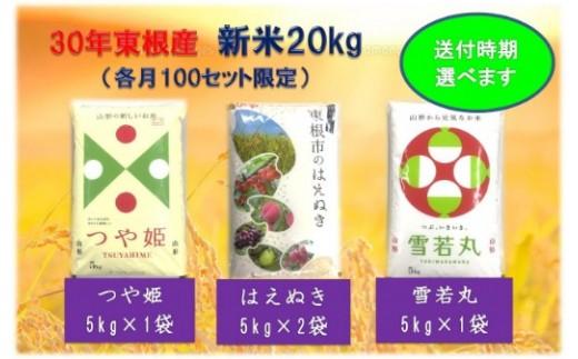 30年産[精米]はえぬき10kg+つや姫5kg+雪若丸5kg(送付時期が選べます)植松商店提供