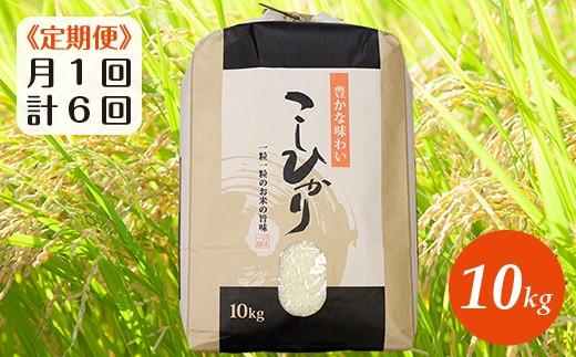 ☆【月1回・計6回】30年産「コシヒカリ」10kg(精米)
