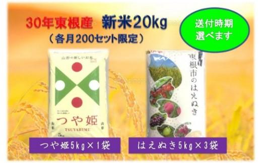30年産[精米]はえぬき15kg+つや姫5kg(送付時期が選べます)植松商店提供