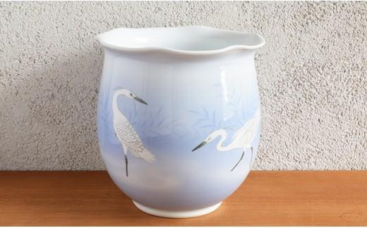 A2000-9 深川製磁 白鷺 手造花器