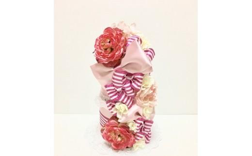 ピンクのおむつケーキ